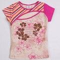 Retail baby girl camiseta 2016 nueva nova ropa de verano chica top causal floral chica camiseta de la camiseta muchacha de los niños ropa de niño desgaste