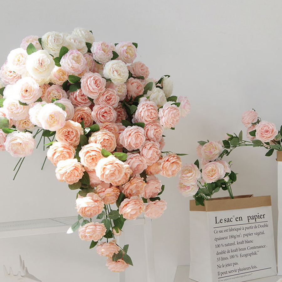 beautiful rose peony artificial silk flowers small bud wedding bouquet for home decoration long fake flowers outdoor backdrop
