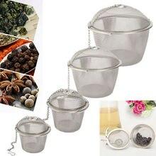 Горячий прочный Серебряный многоразовый нержавеющий сетчатый травяной шарик чай сито для специй чайник запирающий Чайный фильтр для заварки специй 4 размера