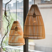 Bamboo hand knitted lampshade Designer creative personality art chandelier decoration