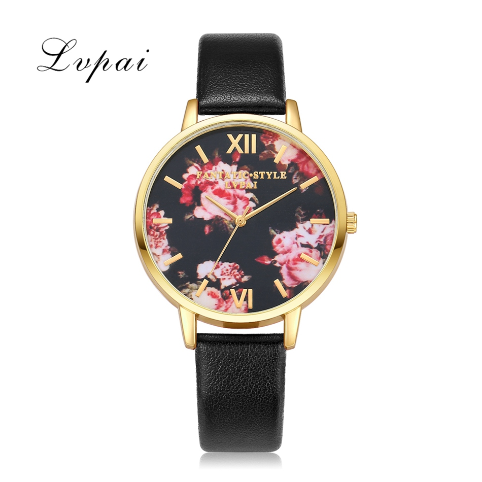 Lvpai Brand Luxury Silver Fashion Women Watches Flowers Leather Dress WristWatches Women Bracelet Watches Women Quartz Clock часы guess w1008l2