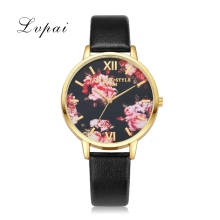 Lvpai Brand Luxury Silver Fashion Women Watches Flowers Leather Dress WristWatches Women Bracelet Watches Women Quartz Clock