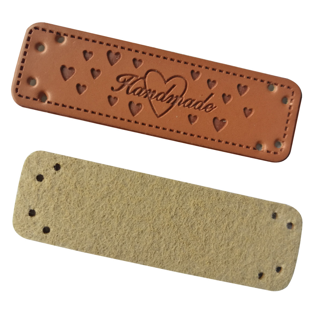 Heart Logo Handmade Leather Labels With Heart For Needlework Hand Made Label For Gift Tags Needlework Sewing Tag For Clothing