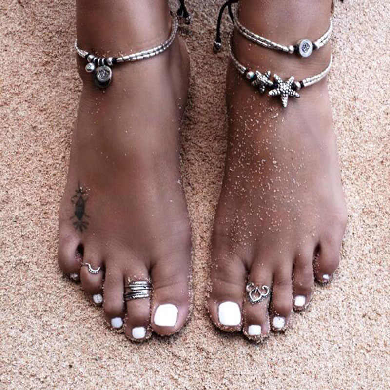 NS67 Bohemian Anklets For Women Summer Beach Jewelry Trendy Starfish Double Layer Chain Foot Bracelet Boho Hot Selling