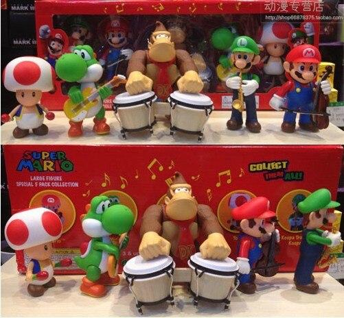 Super Mario Bros Luigi crapaud Yoshi Concert musique Concert Collection Figure enfant jouet 5 pièces cadeau d'anniversaire