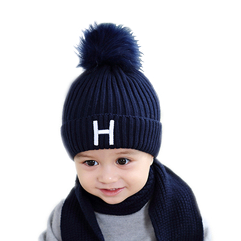 6f142ff082ad34 Baby hat cap infant for a Boy Kids girl winter thickened Warm Crochet Knit  caps set with scarf Fur Pom Bobble hats for girls