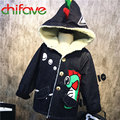 Kids Boys Long Dinosaur Outerwear Coat Fashion Winter Single Breasted Cotton Padded Baby Clothing Boys Warm Hooded Collar Jacket