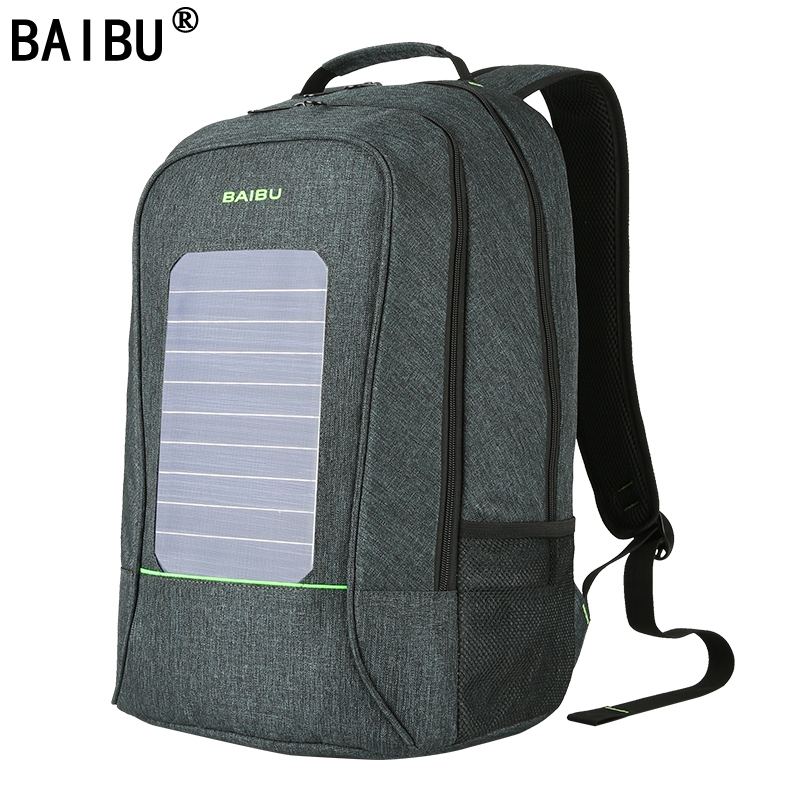 BAIBU Men Backpack Waterproof Laptop Backpack 10W Solar Powered Backpack Usb Charging Anti-Theft Notebook Bag For Teenagers baibu men backpack anti theft waterproof usb charging laptop backpack student women school bags for teenagers travel bag