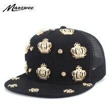 2906df6ece46f Unisex hip-hop Snapback sombrero de mujer de Color sólido negro gorras de  béisbol con corona de Metal Rap hip-hop gorra Casual d.