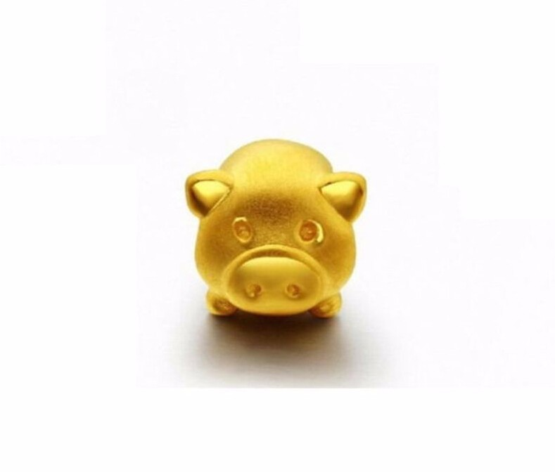 New  999 24K Solid Yellow Gold Pendant / 3D Carved Lovely Pig Pendant /1.1gNew  999 24K Solid Yellow Gold Pendant / 3D Carved Lovely Pig Pendant /1.1g