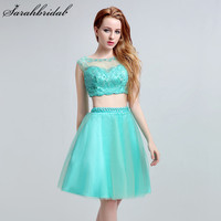Short Sexy Prom Dress Sweetly Tulle A Line Two Pieces Sleeveless O Neck Homecoming Gowns Appliques Beading Knee Length Hot LX162