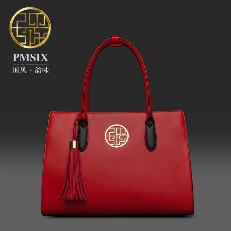 2017 New women leather bag famous brands fashion quality women handbags shoulder bag chinese style red tassel women bag