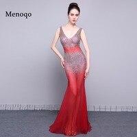Red Mermaid Prom Dresses Thực Tế Hình Ảnh Low Trở Lại V neck đính cườm Tulle Sexy Women Formal Evening Dress Gowns Vestidos 2017 PRD02A017
