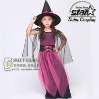 2018 New Style Halloween Carnival Children Cosplay Witch Costume Purple Princess Fancy Dress Ball Girls Gauze Dress With Hat