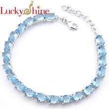 Luckyshine deslumbrante agua gota Shine cristal azul cielo creó plata de cuarzo cadena pulseras Rusia USA pulseras brazaletes