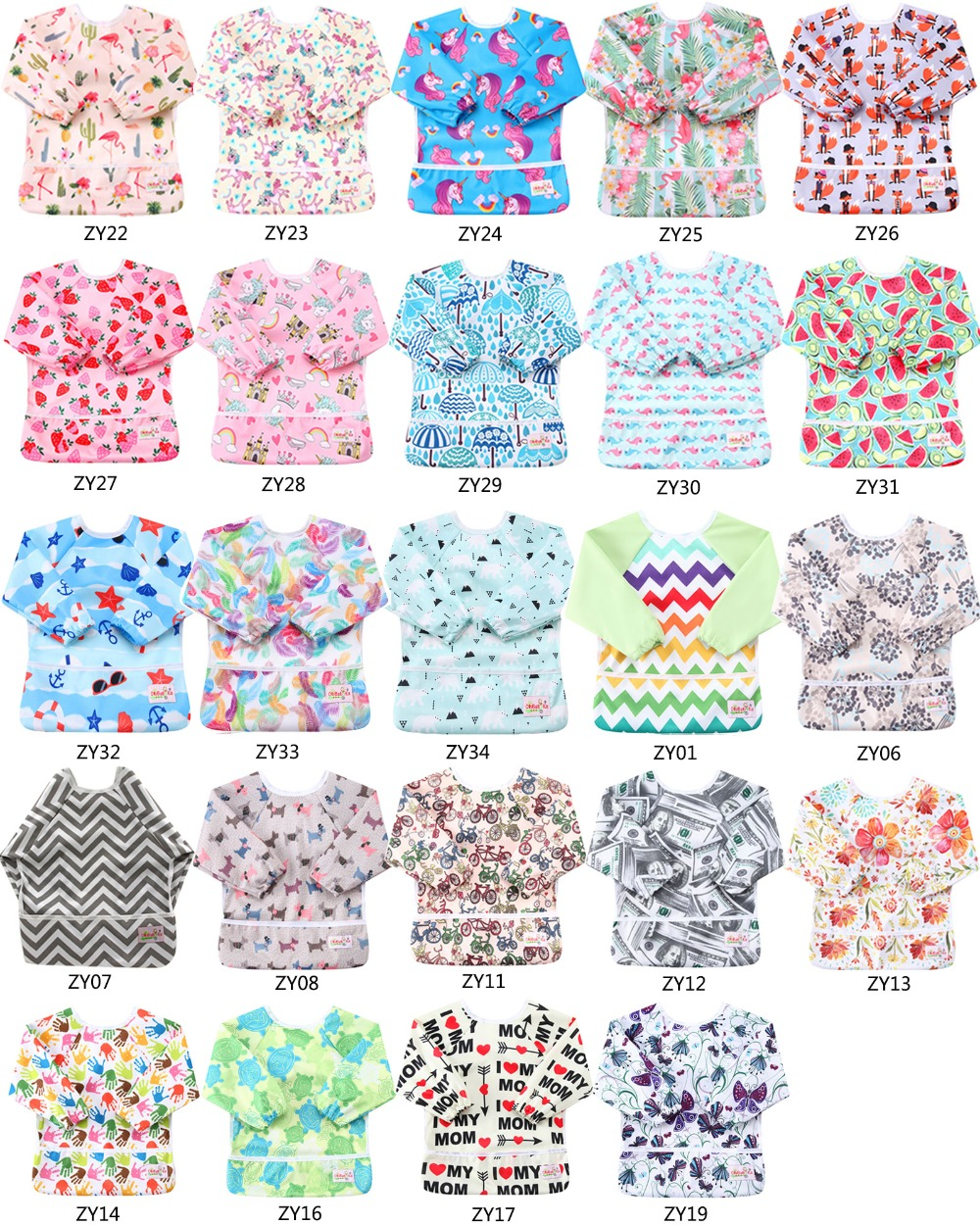 100 Pack Unicorn Reusable Baby Bibs for Boys Waterproof Baby Bibs with Sleeves Unisex Fashion Baby Pocket Bibs Feeding Clothes