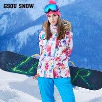 Gsou снег один, сноуборд, водонепроницаемый, дышащий, тепловой, открытый лыжный костюм, женский костюм
