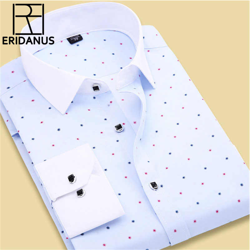 2017 Lente Collectie Mannen Bloemen Shirts Fashion Lange Mouwen Individualiteit Business Casual Koreaanse Man Dot Gedrukt Jurk Shirts M020