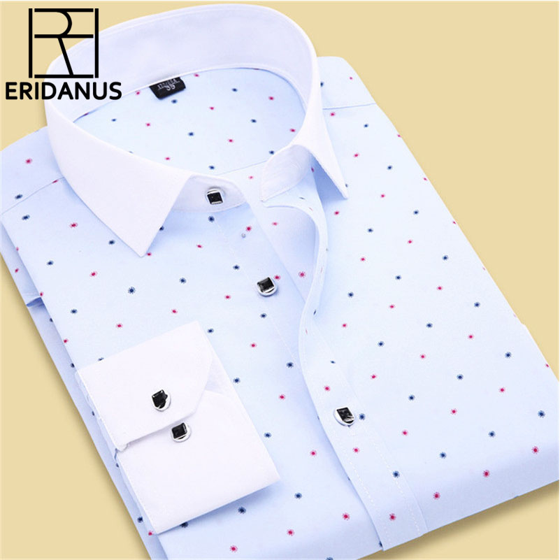 2017 Spring Arrival Men Floral Shirts Fashion Long Sleeve Individuality Business Casual Korean Man Dot Printed Dress Shirts M020