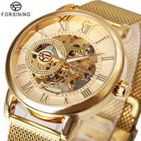 Top Brand Luxury Men Mechanical Watch Skeleton Dial Roman Number Stainless Steel Ultra Thin Mesh Strap