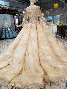 Image 2 - LS474110高級教徒のイブニングドレス長袖ハイネック3D花ゴールデンドバイ女性日のドレス送料無料