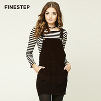 Women Casual Corduroy Skirts Suspender Spaghetti Strap Skirt High Waist Skirts With Pockets