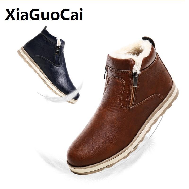 9f7afbcc941 Comprar 2018 nuevos hombres de cuero genuino botas de invierno zapatos  casuales de hombre zapatos con piel caliente de moda botas de los hombres  zapato de ...