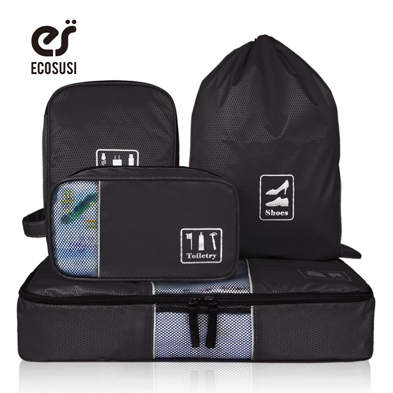 ecosusi Travel Accessories Storage Bag For Clothes Shoes Electronics Toiletry Organizer 4 Pcs Travel Bag Make Tidy Suitcase