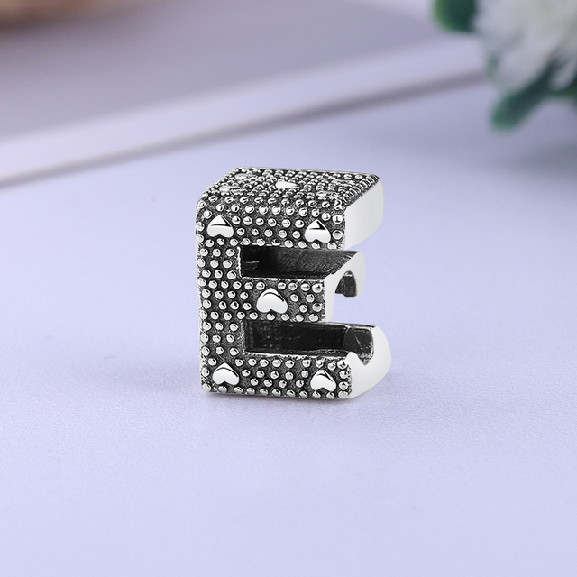 Original 100% 925 Sterling Silver Bead Charm A-Z 26 Letters Charms Alphabet Crown O Fit Pandora Bracelets Women Diy Jewelry 4