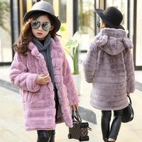 JMFFY Winter Baby Girl Clothes Faux Fur Fleece Coats Warm Jacket Snowsuit 6 15T Outerwear 2018 Girls Clothes Hooded Toddler Kids