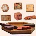 7 Hexagonal Jogos/lotes Crianças IQ Teaser de Cérebro Quebra-cabeças Quebra-cabeças 3D de Madeira para Crianças Montados Brinquedos Educativos Presentes para o Ano Novo