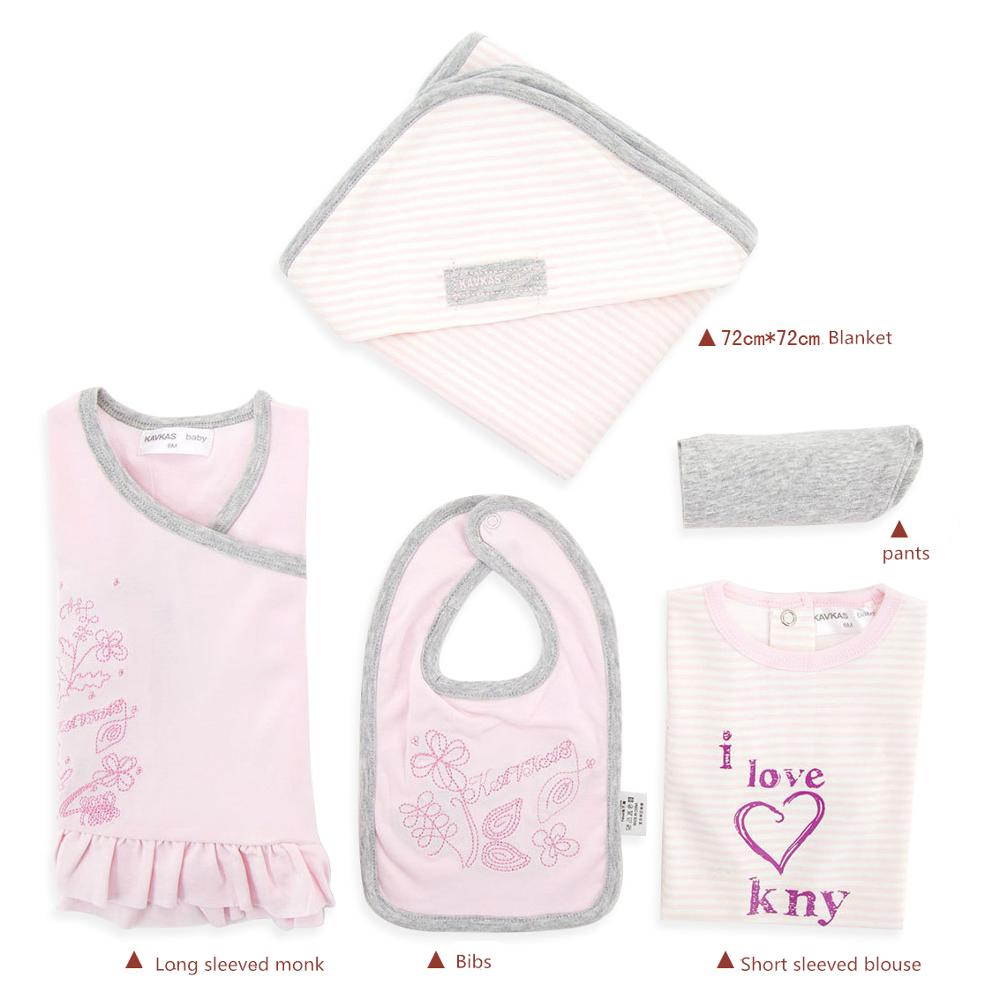 5 Piece Cotton Newborn Baby Kids Infant Set Girl Clothes T shirt Climbing Suit Outfits Pants Baby Girl Clothing Warp Blanket Bib