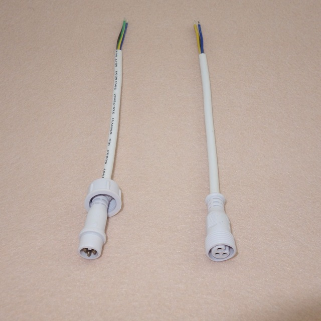 10pcs/lot3 Core White Waterproof pigtail,20cm long each;male and female;male connector's diameter:13.5mm;18AWG wire