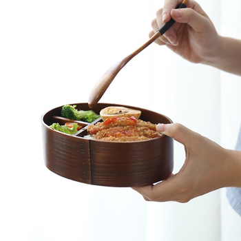 Lunchbox Wood Eco-friendly Bento Box Sushi Box Portable Food Storage Container with Bags Wooden Japanese Natural Brown 4
