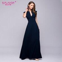 S.FLAVOR Women party long dress 2018 Spring Summer Popular sleeveless vestidos Elegant women deep V-neck sexy nightclub dress