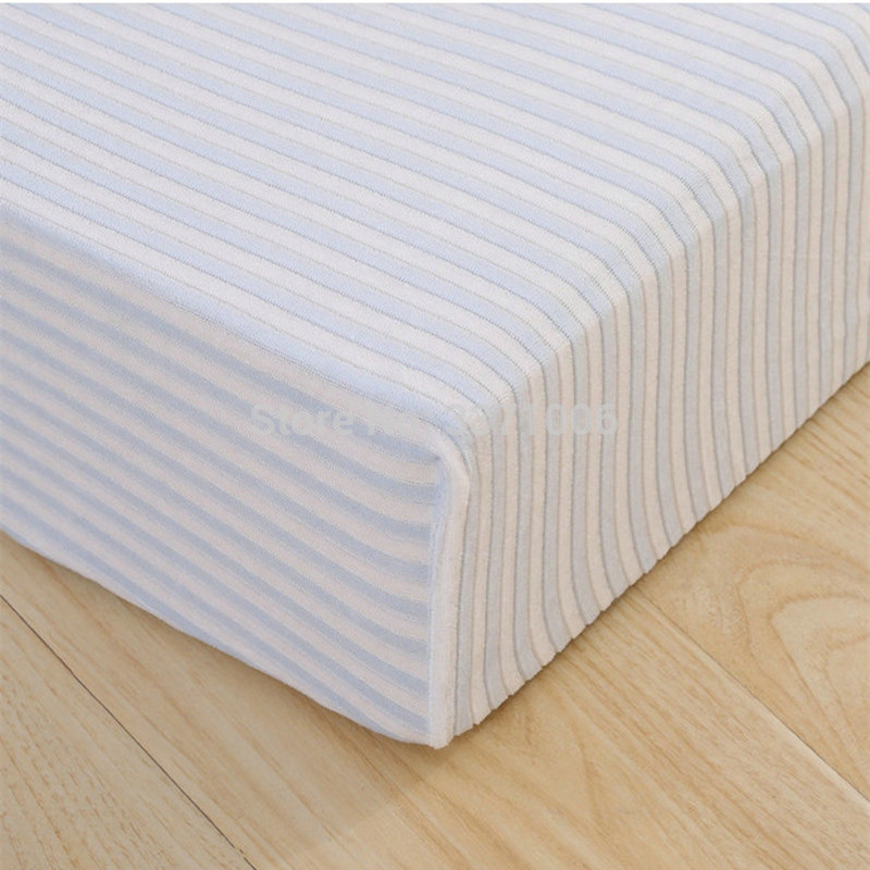 New Baby Bed Sheets Knitted Striped Velvet Bed Cirb Fitted Sheets Mattress  Pad Baby Bed Products Oval Bed Cover Mattress Covers