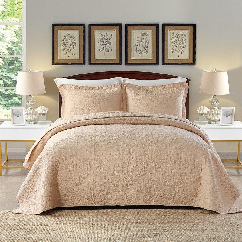 Chausub качества Хаки мыть хлопок Стёганое одеяло комплект 3 шт. вышивка Стёганое одеяло S покрывало Стёганое одеяло ED покрывало наволочка король размер