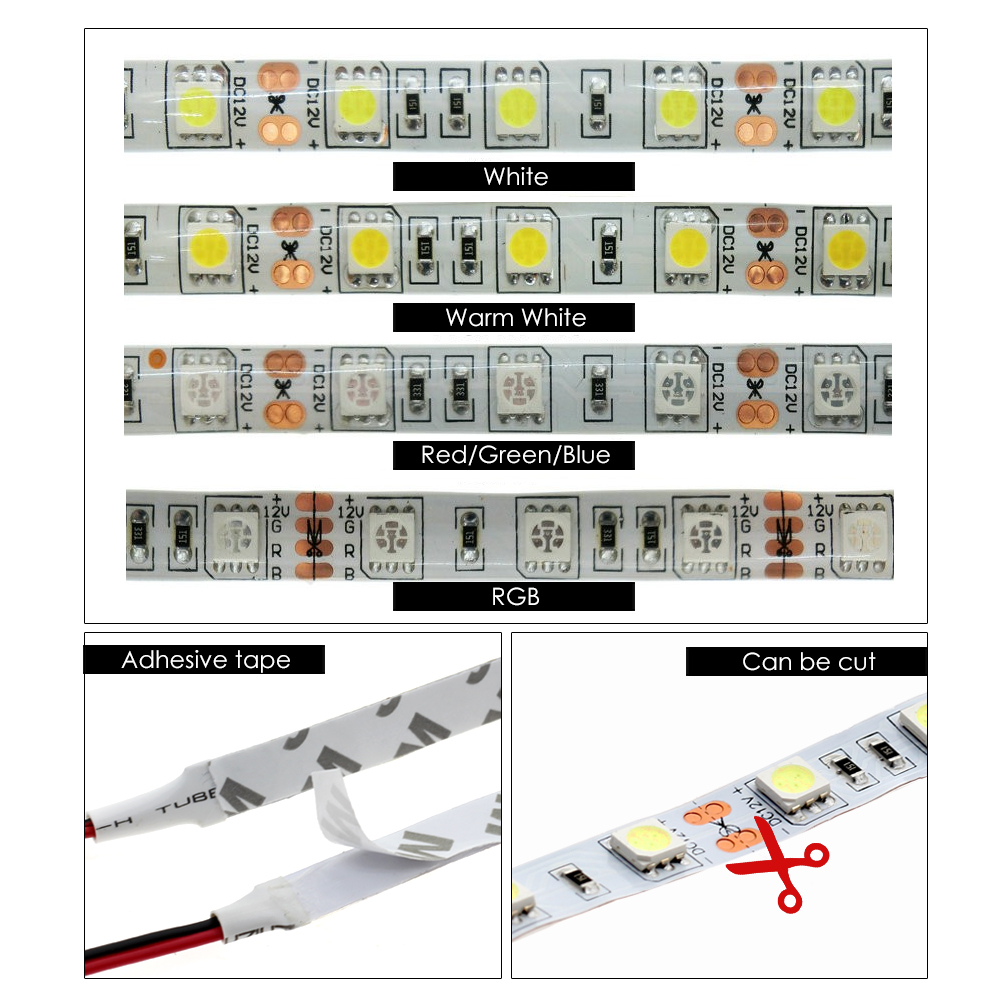 LED Strip 5050 DC12V Flexible LED Light, Black / White PCB, No ...