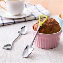 Милая ложка из нержавеющей стали с длинной ручкой для кофе, мороженого, супа