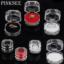 PINKSEE 12Pcs/Lot Transparent Wedding Ring Earrings Brooch Storage Display Case Organizer Jewelry Box Package Wholesale