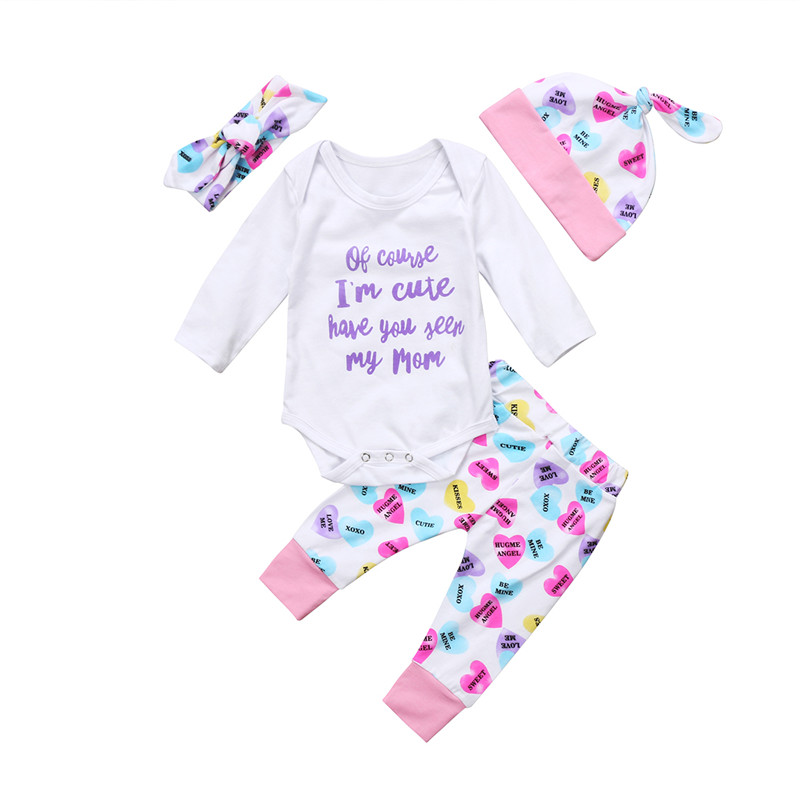 New Xmas Set Newborn Baby Boy Girls Top Long Sleeve Romper Long Pants Floral Hat Outfits Clothes 0-24M