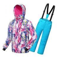 2016 Winter High End Thickening Waterproof Ski Suit Children Girls Warm Snowboarding Coat Jacket Romper Pants