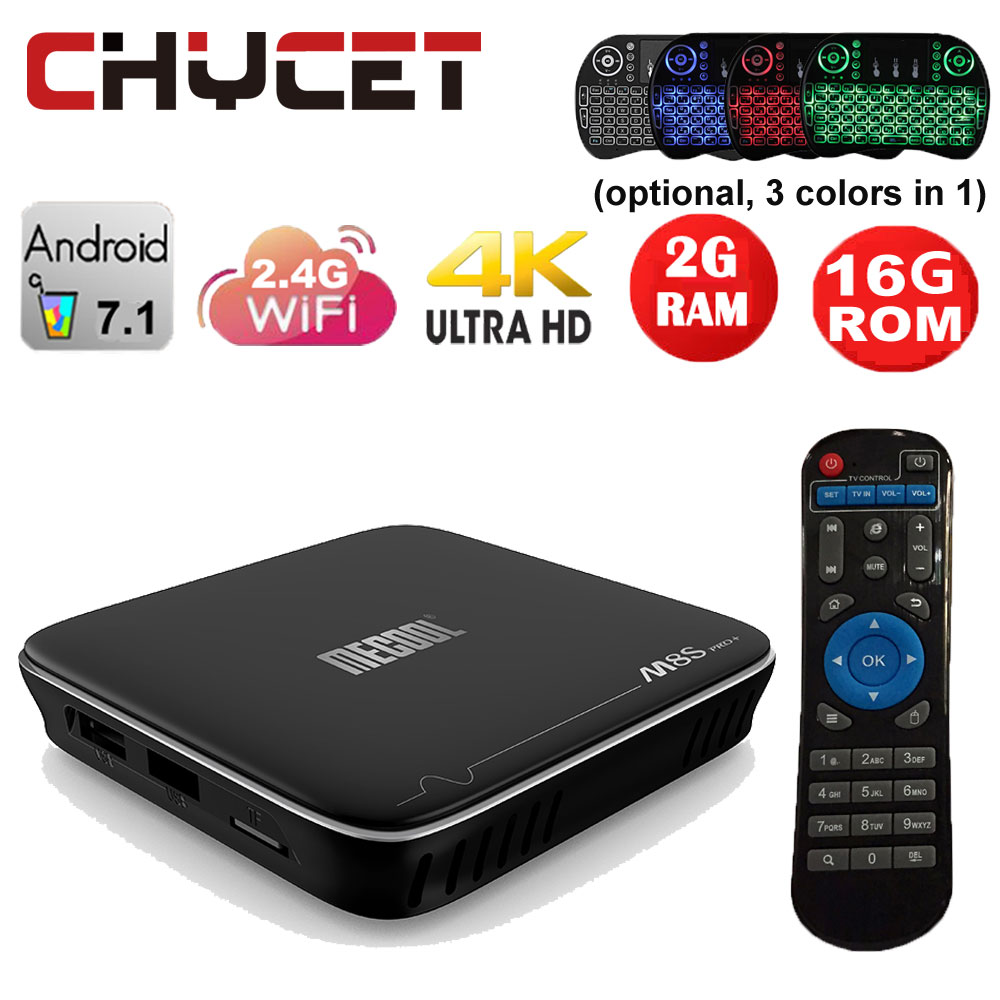 MECOOL M8S PRO+ Android 7.1 tv box Amlogic S905X Quad Core 2GB ROM 16GB WIFI H.265 4K Movies Smart TV Box Android Media Player mx plus amlogic s905 smart tv box 4k android 5 1 1 quad core 1g 8g wifi dlna потокового tv box