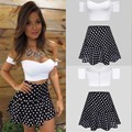 Ladies Fashion Sexy Strapless Short Sleeve Off Shoulder Crop Tops and Polka Dot Skirt Contrast Colors Two Pieces Set