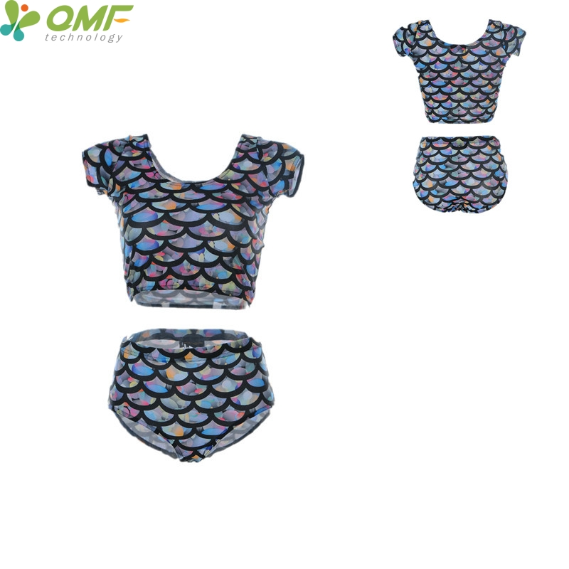 8d5ed1cad Sexy Mermaid Bikini Brazilian Navy Fish Scale Swimming Suit For Women Short  Sleeves Crop Tops Bathing Suits High Waist Swimwear-in Bikinis Set from  Sports ...