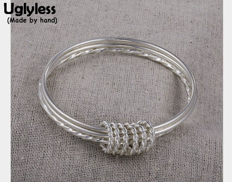 Uglyless Real S 925 Sterling Silver 3 Circles Bangles Handmade Twisted Designer Close Bangle Simple Fashion Ethnic Fine JewelryUglyless Real S 925 Sterling Silver 3 Circles Bangles Handmade Twisted Designer Close Bangle Simple Fashion Ethnic Fine Jewelry