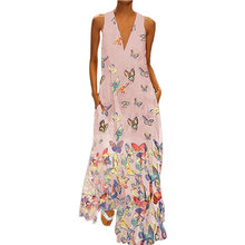 купить Plus Size Women Sleeveless Bohemia Dress Butterfly Print Sexy V Neck Long Maxi Dress Summer Beach Holiday Sundress дешево