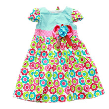 2017 summer flower girls dress 100% cotton free shipping 2-8 years old