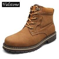 Valstone איכות עבודת יד גברים מגפי מרטין עור אמיתי שכבה הראשונה Botas מגפי עבודה חם גבוה למעלה קרסול בתוספת גודל אירו 52