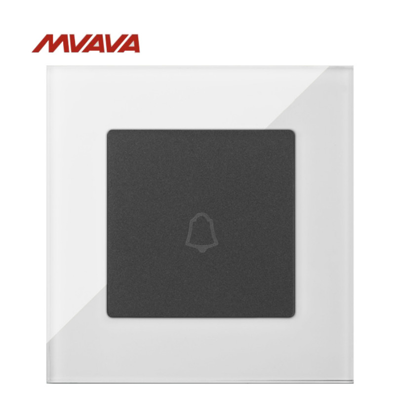 MVAVA Door Bell Control Switch Ring Push Bottom Electrical Doorbell Wall Luxury White Crystal Glass Panel Free Shipping
